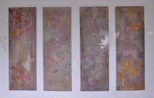 Ambiguity - As they fall Wax and pigment on linen x 4 pieces, with Perspex cut outs 2.5m x 2m x 2m (depth)